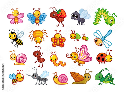 Big vector set with cute insects on a white background in cartoon style.
