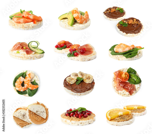 Set of puffed corn cakes with different toppings on white background © New Africa
