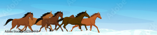 Vector illustration of wild horses Fotobehang