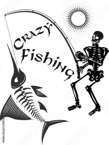 Tablou Canvas Crazy fishing. Skeleton fisherman catching marlin