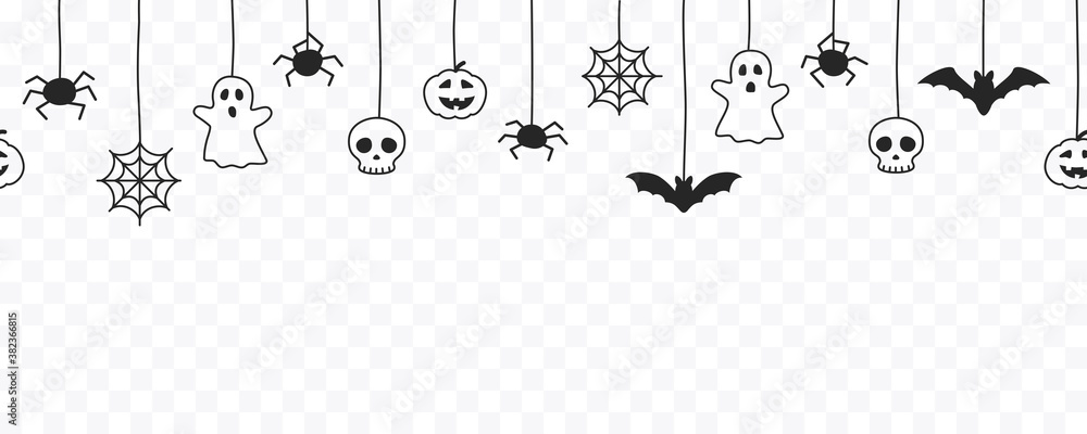 Fototapeta Happy Halloween seamless banner or border with black bats, spider web, ghost  and pumpkins. Vector illustration party invitation isolated on transparent background