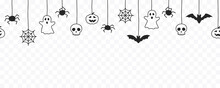 Happy Halloween Seamless Banner Or Border With Black Bats, Spider Web, Ghost  And Pumpkins. Vector Illustration Party Invitation Isolated On Transparent Background