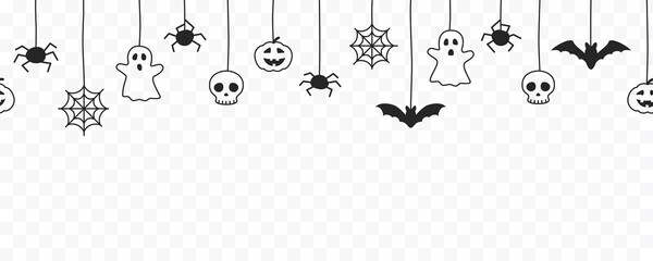 Fototapeta Boks Happy Halloween seamless banner or border with black bats, spider web, ghost and pumpkins. Vector illustration party invitation isolated on transparent background