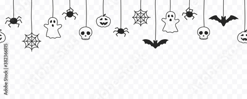 Happy Halloween seamless banner or border with black bats, spider web, ghost  and pumpkins. Vector illustration party invitation isolated on transparent background - 382366815