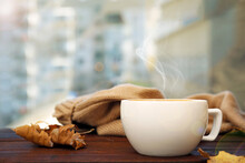 Cup Of Hot Coffee And Autumn L...