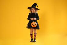 Cute Little Girl With Pumpkin ...