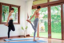 Yoga Training. Fitness Lady Be...
