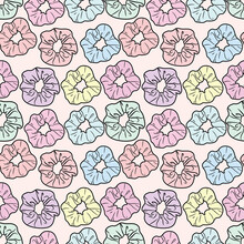 Scrunchy Repeat Pattern Design. Seamless Pattern With Hair Ties.