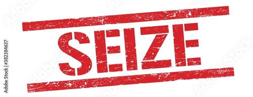 SEIZE text on red vintage lines stamp. Fotobehang