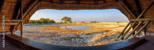 Fotografie, Obraz View from animal watching hide over a waterhole in Etosha National Park, Namibia