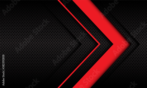 Abstract red arrow direction on dark metallic circle mesh pattern design modern futuristic background vector illustration.