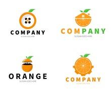 Set Of Orange Fruit Logo. Orange Button, City, Gear, Home Logo Concept. Vector Design Illustration.