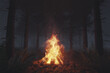 canvas print picture 3d rendering of big bonfire with sparks in the forest at foggy night