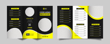 Food Trifold Brochure Menu Template. Vintage Fast Food Menu Brochure For Restaurant With Black And Yellow Color