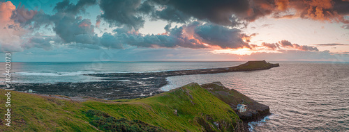 Sunset over Gower Peninsular Rhossilli Bay Worm Rock Formation Wallpaper Mural