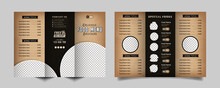 Food Trifold Brochure Menu Template. Vintage Fast Food Menu Brochure For Restaurant With Black And Old Color