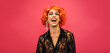 LGBTQ drag queen laughing on pink background