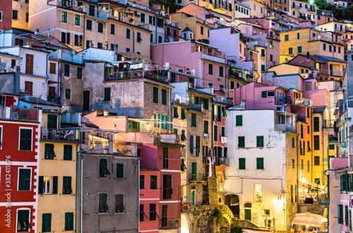 View of Riomaggiore village at the Cinque Terre, UNESCO world heritage in Liguria, Italy