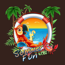 Summer Background With Palm Trees And Parrot