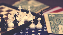 Chess And American Flag So Close, Vintage Toned
