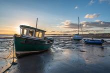 Boats At Low Tide Sunrise