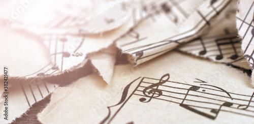 Retro handwritten music sheet ,abstract art background