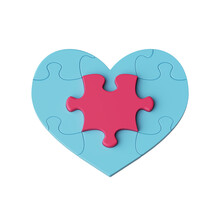 3d Render, Blue Heart Puzzle With Red Piece Patch In The Center, Clip Art Isolated On White Background