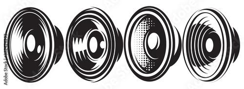 Obraz na plátně A set of different monochrome speakers