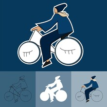 Bicycle Rider In The Cartoon S...