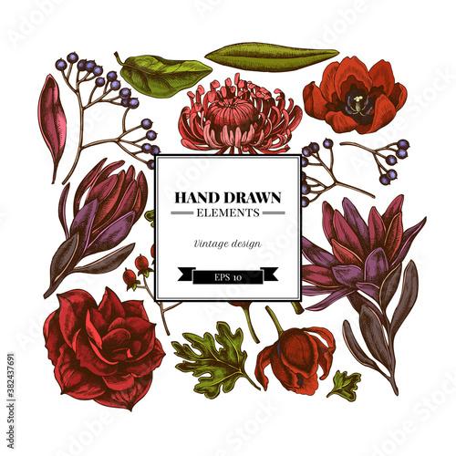 Square floral design with colored viburnum, hypericum, tulip, aster, leucadendro Wallpaper Mural