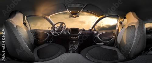 Fototapeta Electric small car interior view as 360 degree panorama