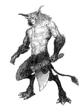 Orc Troll Ogre Hairy Monster With Horns And Hooves And An Ax In His Hands A Nightmare Beast