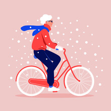 An Old Woman Rides A Bicycle Under Snowfall. Winter Sport. Grandmother. Vector Flat Illustration