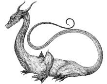 Dragon With A Long Tail Sitting On The Ground