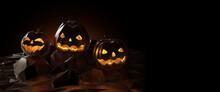 Halloween 3D Illustration. Pum...
