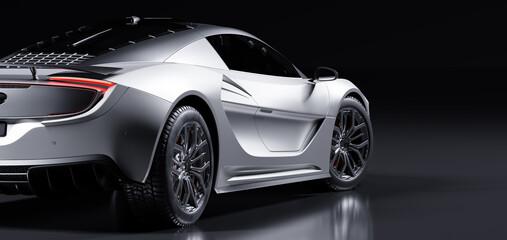 Rear view of modern fast sports car in studio light.