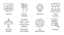 Problem Solving Icons Editable Stroke. Creativity Analysis Research Critical Thinking. Team Building Emotional Intelligence Risk Management Decision Making. Vector Stock Illustration On White Back