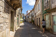Vila Nova de Cerveira / Portugal - August 1, 2020: Street in historic center of Cerveira. Cerveira is a city and a municipality in Viana do Castelo District in Portugal.