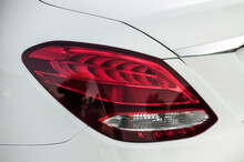 Close-up Of The Rear Light Of A Modern Car. Led Optics Of The Car. Detail On The Rear Light Of A Car. Car Detail.