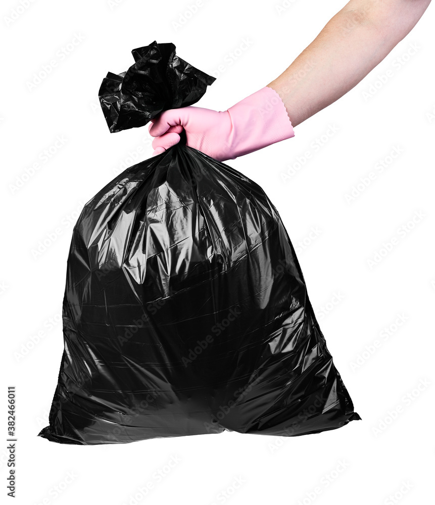 Fototapeta plastic bag trash waste enviroment garbage pollution hand holding glove protective wear rubbish