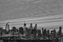 New York City - Midtown Manhattan Skyline And Queensboro Bridge In Black And White