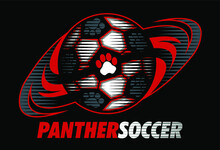 Panther Soccer Team Design With Paw Prints For School, College Or League