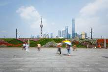 People Walking On The Square In Shanghai,time Exposure
