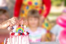 Beautiful Cake And Birthday Of The Child. Congratulation. Joy.