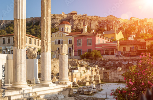 Fotografie, Tablou Hadrian`s Library overlooking famous Acropolis at sunset, Athens, Greece