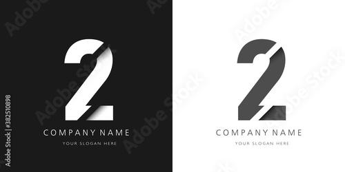 Canvas Print two number modern logo broken design