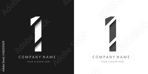 one number modern logo broken design Fototapet