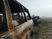 Abandoned Cars Destroyed By Fire - Post Apocalyptic
