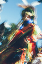 Native American Indian Pow Wow Dancers, Long Exposure Abstract