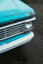 Detail Of Old Vintage Pickup Truck, Focus On Headlight